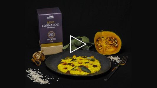 Risotto zucca e aglio nero con Carnaroli Premier Cru Principato di Lucedio